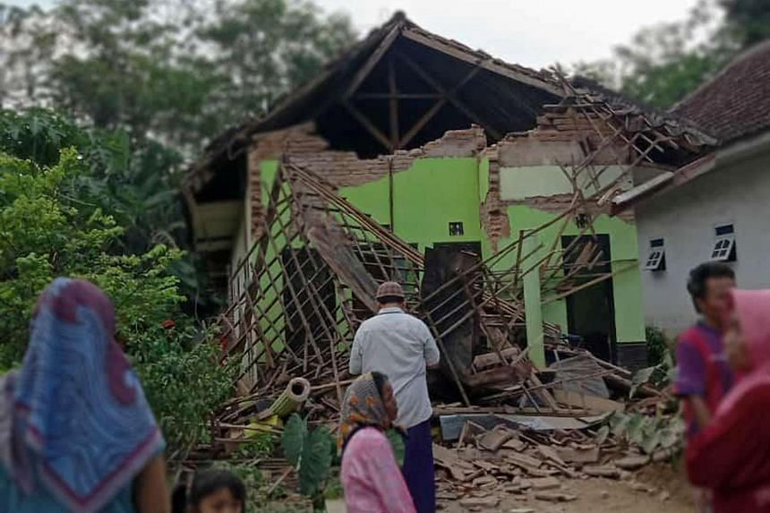 A house destroyed by the earthquake in Malang, East Java province, in Indonesia, on April 10, 2021.