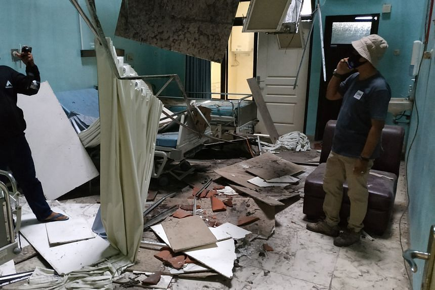 The Ngudi Waluyo hospital in Blitar, East Java, was damaged by the earthquake that struck off the coast of Indonesia'sJava island, on April 10, 2021.