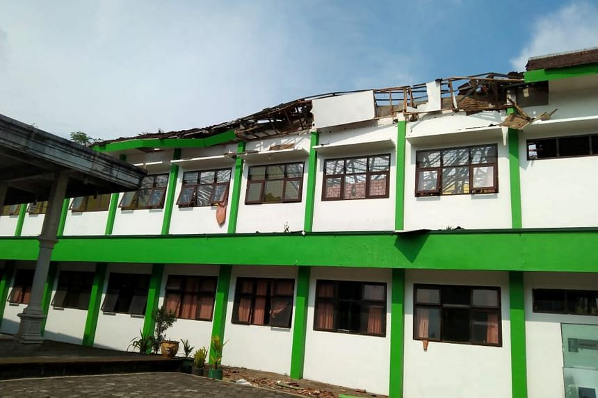 A building in Malang damaged by the earthquake that struck off Java, Indonesia, on April 10, 2021.