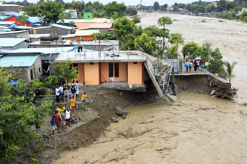 A photo taken on April 4 shows a house damaged by cyclone Seroja in Dili.