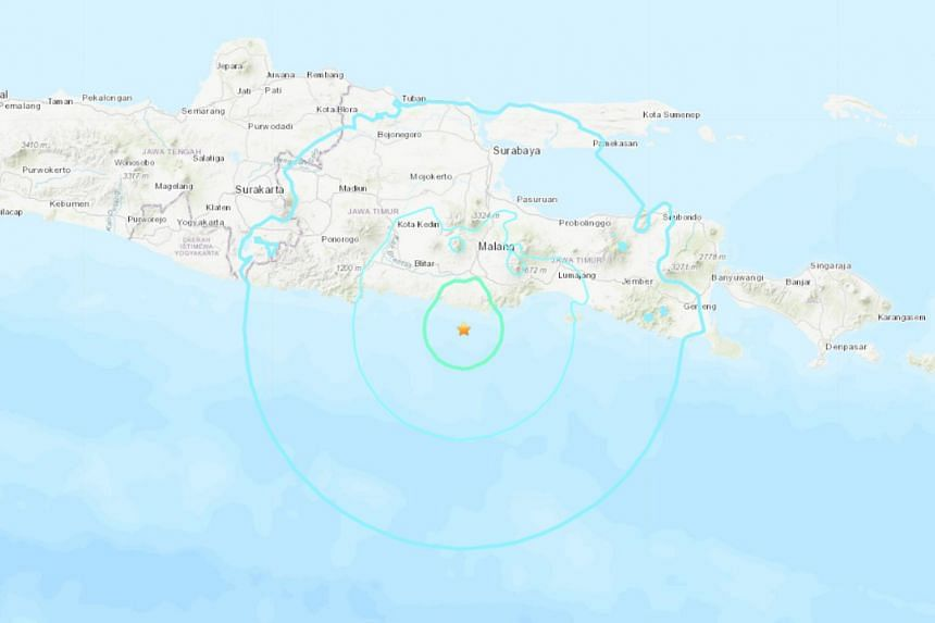 The earthquake struck off the southern coast of the eastern part of Indonesia's Java island.