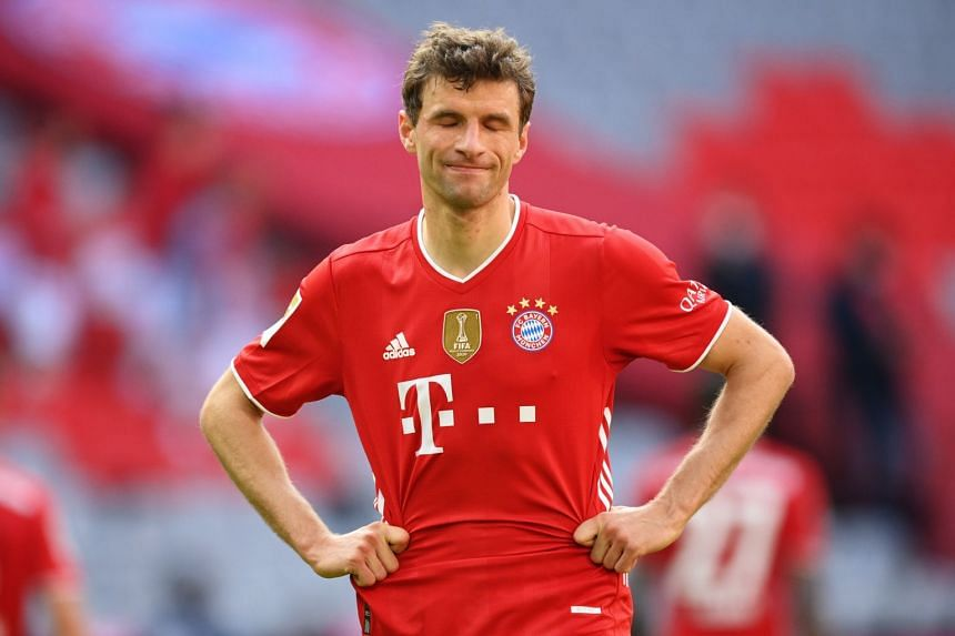 Bayern's Thomas Mueller reacts after the match against Union Berlin.