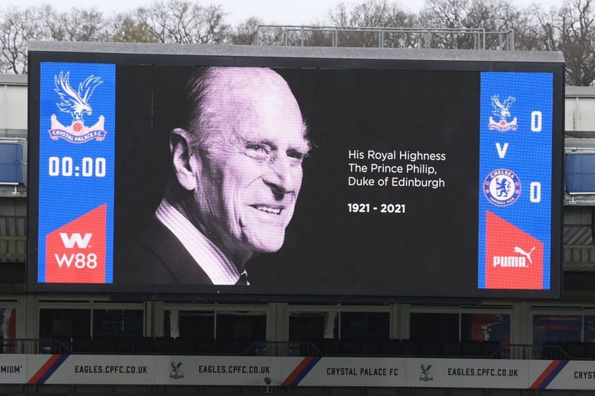 A screen at Crystal Palace's Selhurst Park ground features a tribute to Britain's Prince Philip.