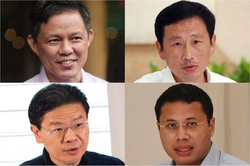 Political analysts say the front runners for the 4G leader post are (clockwise from far left) Trade and Industry Minister Chan Chun Sing, Transport Minister Ong Ye Kung, National Development Minister Desmond Lee and Education Minister Lawrence Wong.