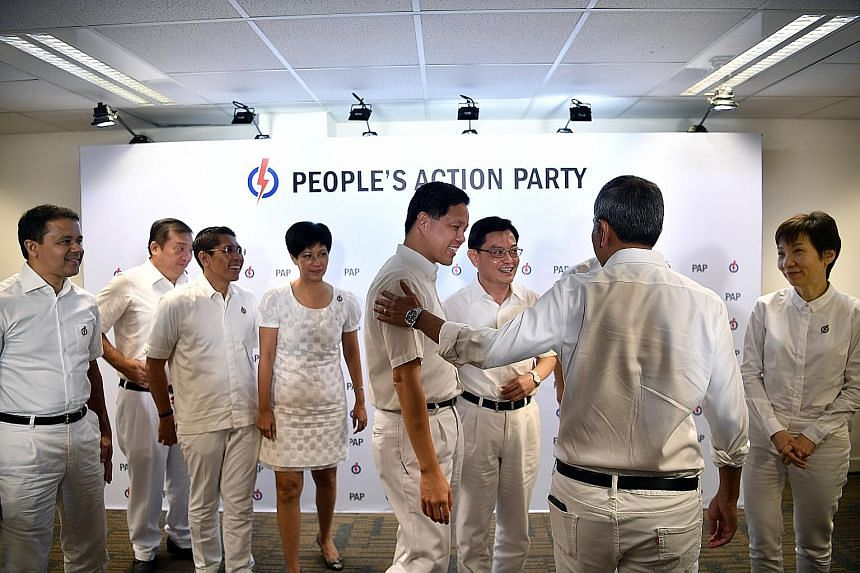 Members of the PAP's 4G leadership team after a press conference at the party's headquarters in Bedok in 2018. From left: Mr Christopher de Souza, Mr Sitoh Yih Pin, Dr Maliki Osman, Ms Indranee Rajah, Mr Chan Chun Sing, Mr Heng Swee Keat, Dr Vivian B