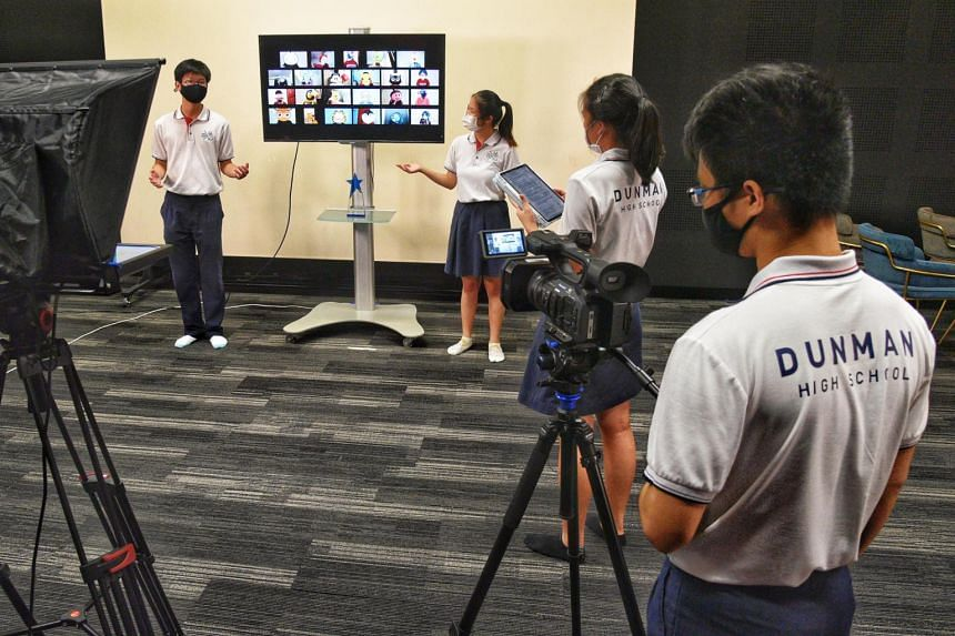 Students from Dunman High School's choir recording the finale for a virtual singing competition on April 5, 2021.