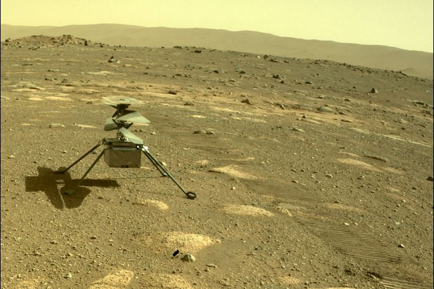 A Nasa photo shows the Ingenuity helicopter on Mars as viewed by the Perseverance rover's rear Hazard Camera.
