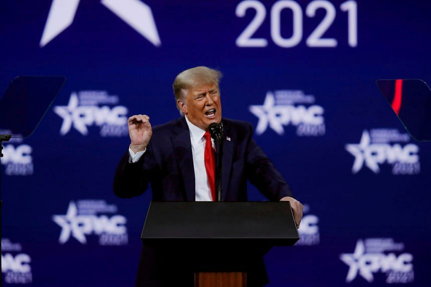 In a photo taken on Feb 28, 2021, former US President Donald Trump speaks at the Conservative Political Action Conference in Florida.