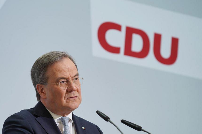 Mr Armin Laschet speaks to the media at CDU headquarters in Berlin, on April 12, 2021.