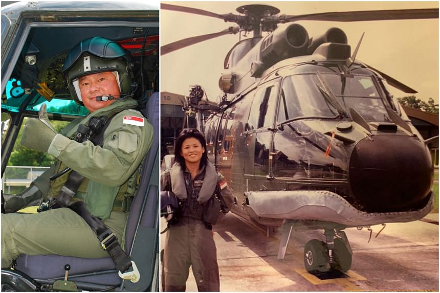 Mr Robert Tan on the Super Puma in 2015 and Sembawang GRC MP Poh Li San, a former RSAF helicopter pilot, with a Super Puma circa 2005.