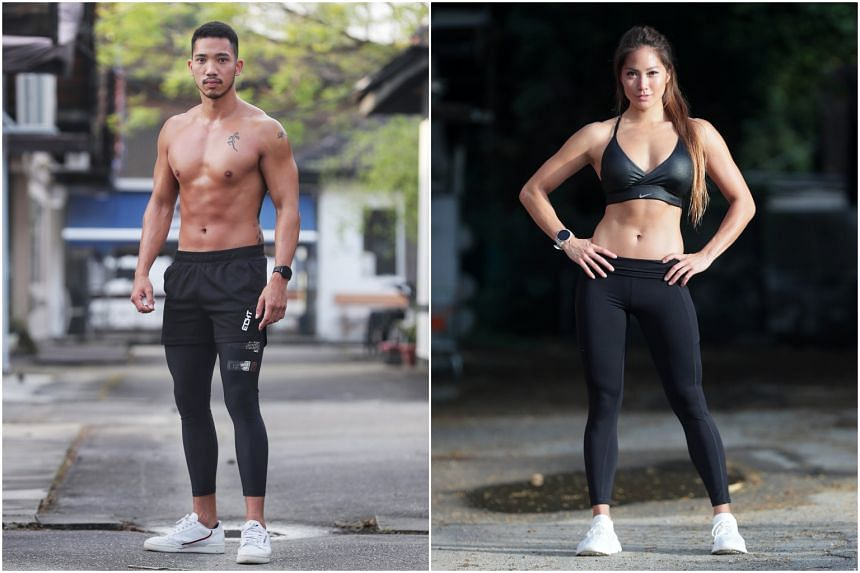Business manager Christel Fung and personal trainer Nicholas Pek (left).