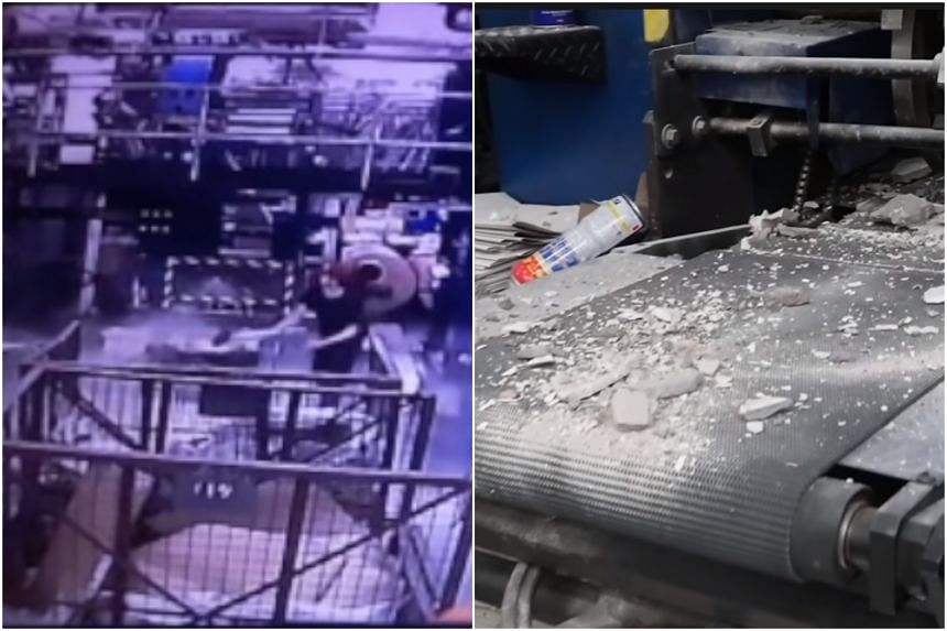 Footage released by the Epoch Times showed four masked men storming into the printing plant and smashing up equipment.