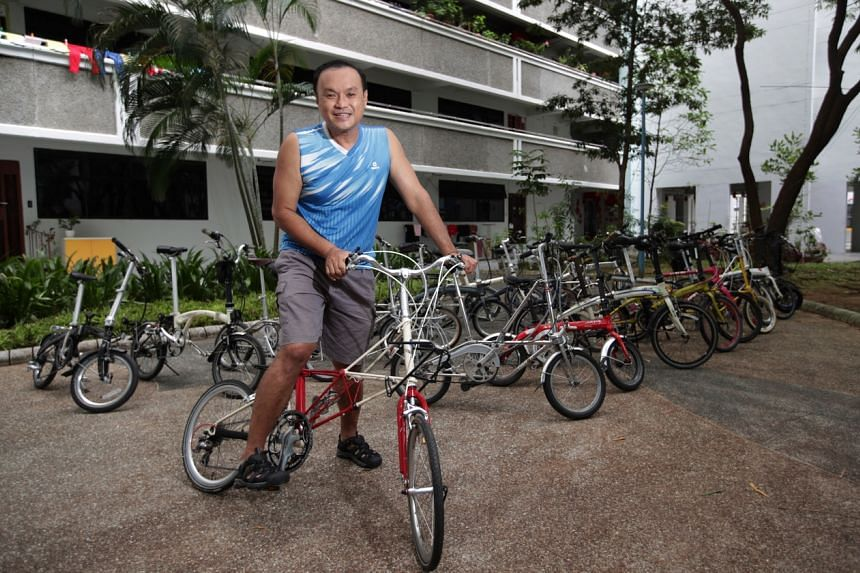 Mr Jenson Tan has more than 20 foldable bicycles at home.