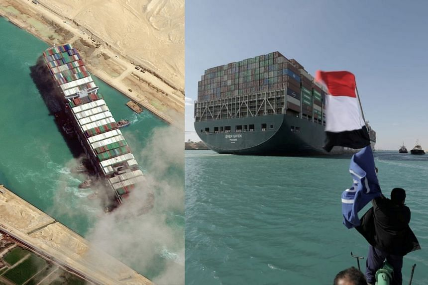The Ever Given blocking the Suez Canal (left) and sailing on after it was freed (right).
