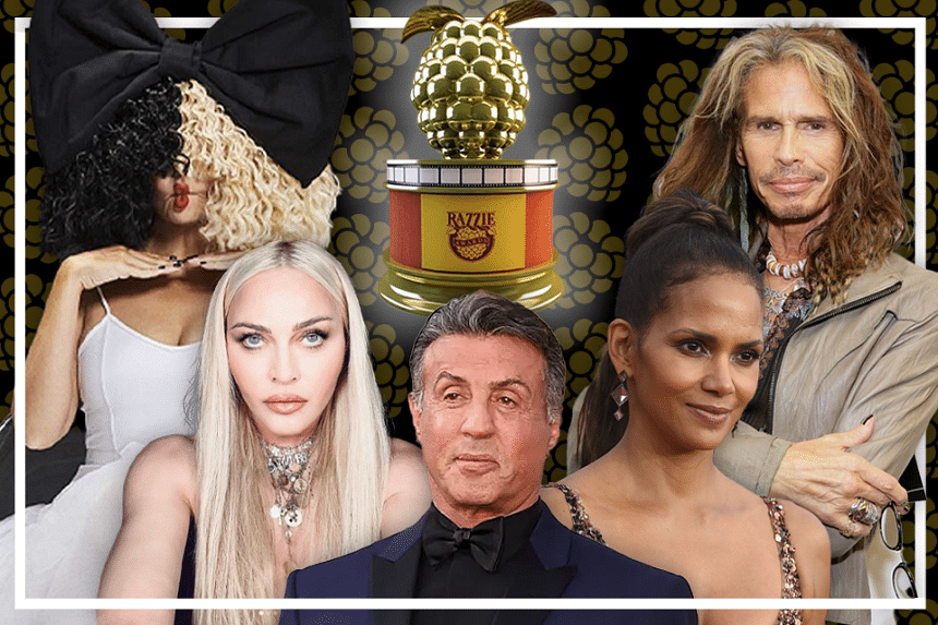 """The #PopVultures recount 40 years of the Razzies, or the Golden Raspberry Awards, which has been dubbed the """"anti-Oscars"""". Past winners and nominees include (from left to right): Madonna, Sia, Sylvester Stallone, Halle Berry and Aerosmith's Steve Tyl"""