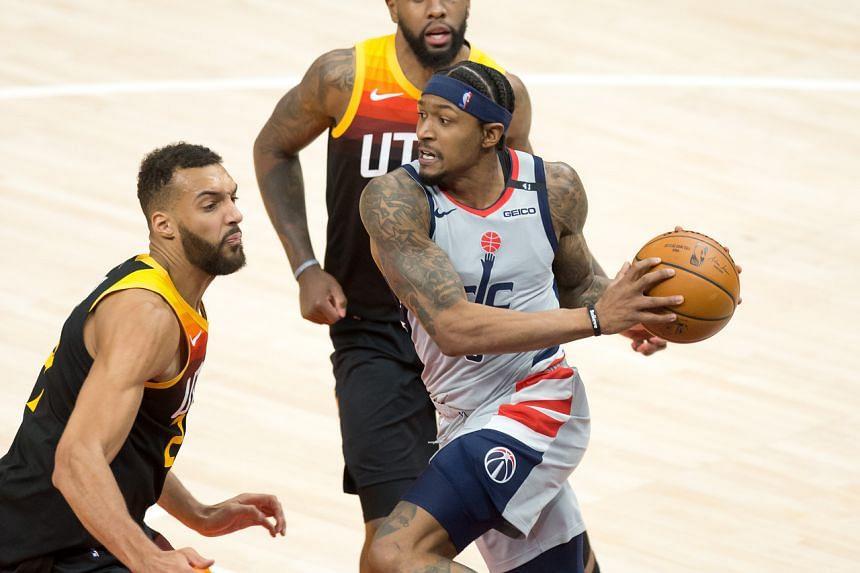 Washington Wizards guard Bradley Beal controls the ball against Utah Jazz at Vivint Smart Home Arena in Salt Lake City, on April 13, 2021.