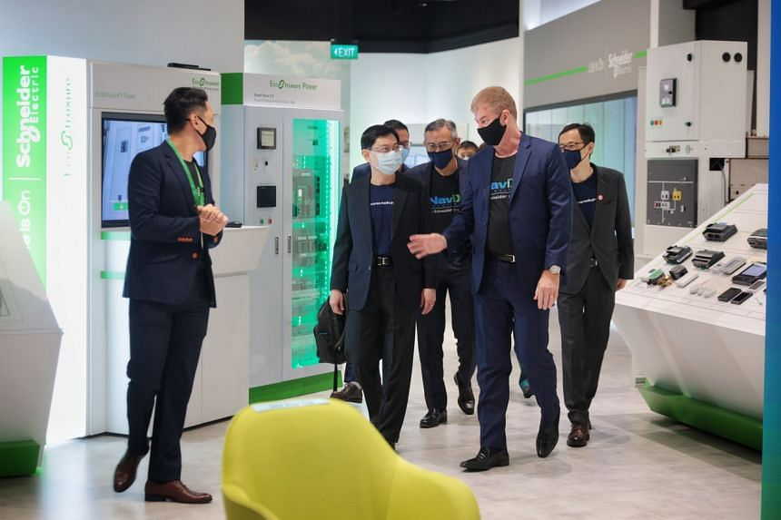 Deputy Prime Minister Heng Swee Keat during his visit to Schneider Electric's headquarters in Kallang on April 13, 2021.