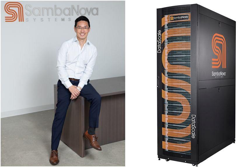 CEO of SambaNova Systems Rodrigo Liang (left) and a data center server rack.