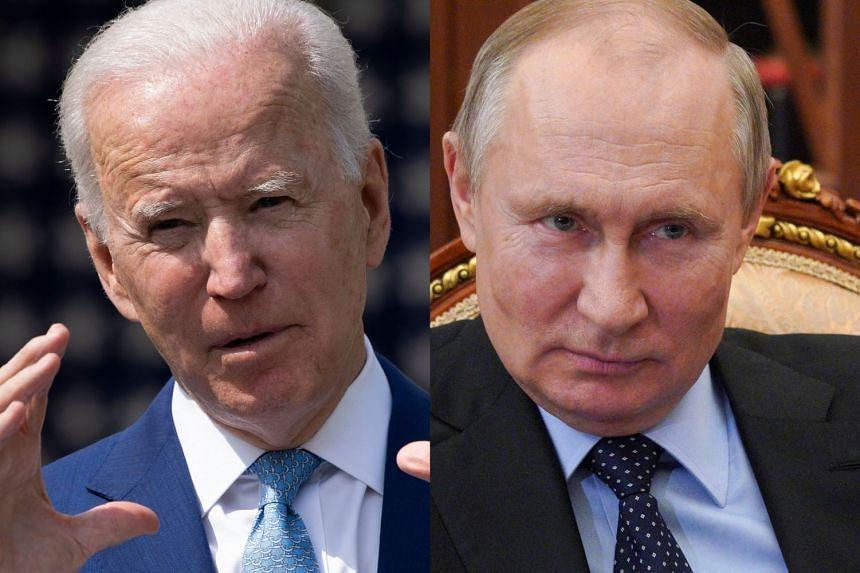 Biden (left) voiced concern to Putin (right) over Russia's military buildup on Ukraine's border.