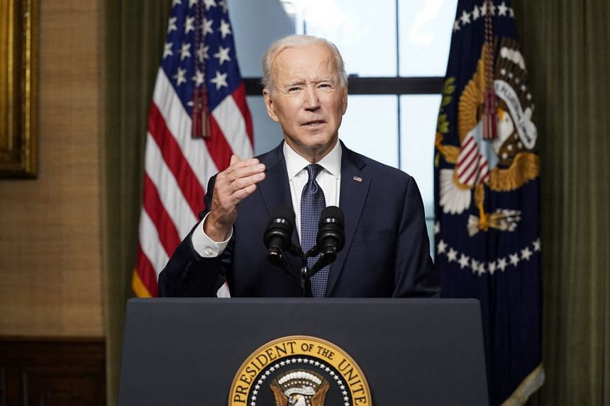US President Joe Biden speaks from the Treaty Room of the White House about the withdrawal of US troops from Afghanistan.