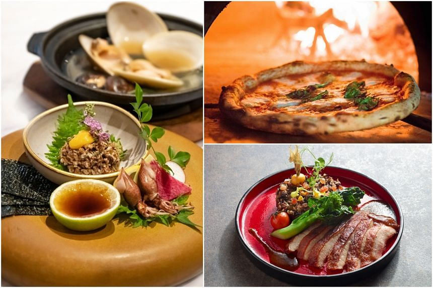 (Clockwise from left) Fat Cow's Sumire Omakase, 800 Degrees Woodfired Kitchen's pizza and Moonbow's Blackberry 4-grain Healthy Rice.