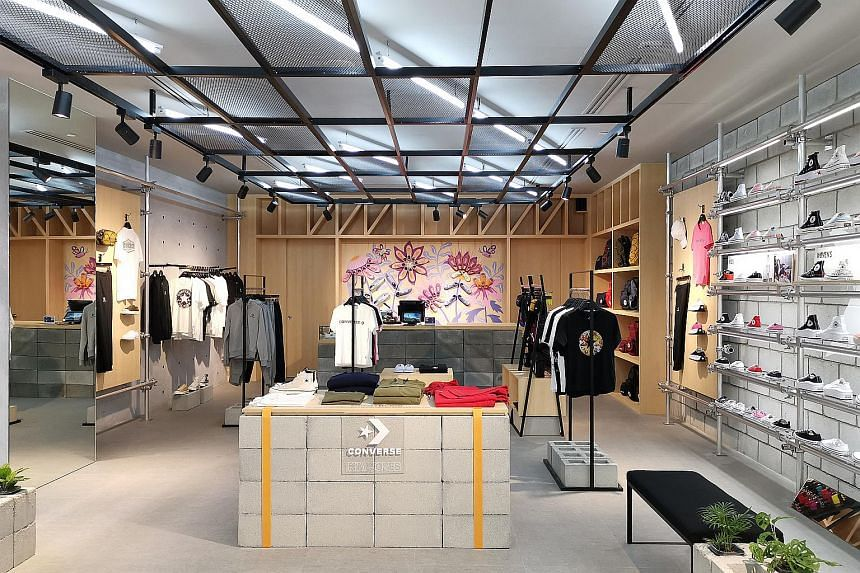 The concept of Converse's store at Jewel Changi Airport was inspired by the creative, skate and basketball communities.