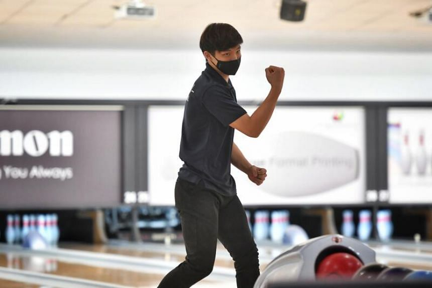 Ryan Toh does a fist pump after a good throw during the National School Games on April 14, 2021.