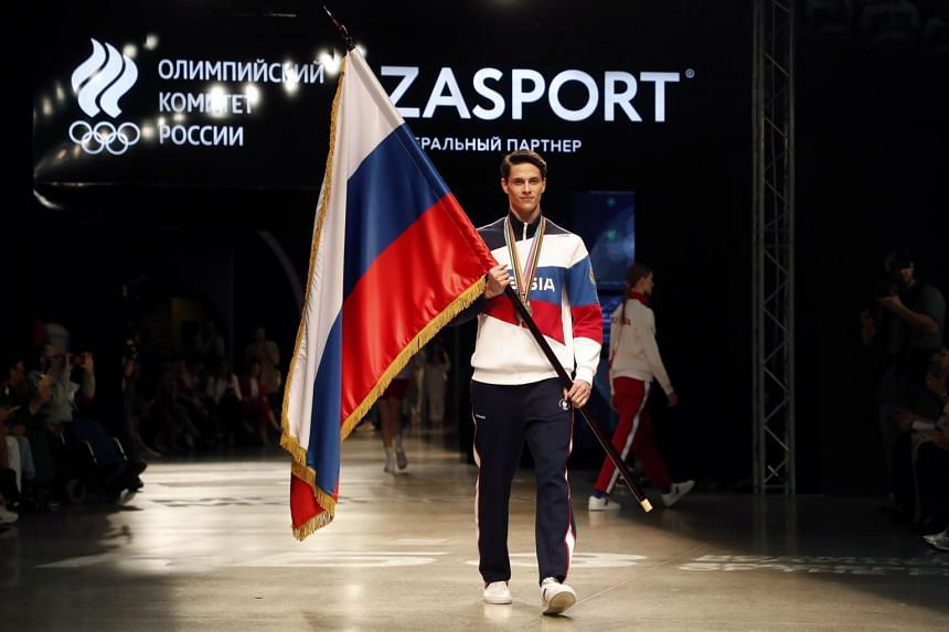 A model wears an official Olympic outfit designed by Anastasia Zadorina, owner of Russian company Zasport in Moscow, on April 14, 2021.