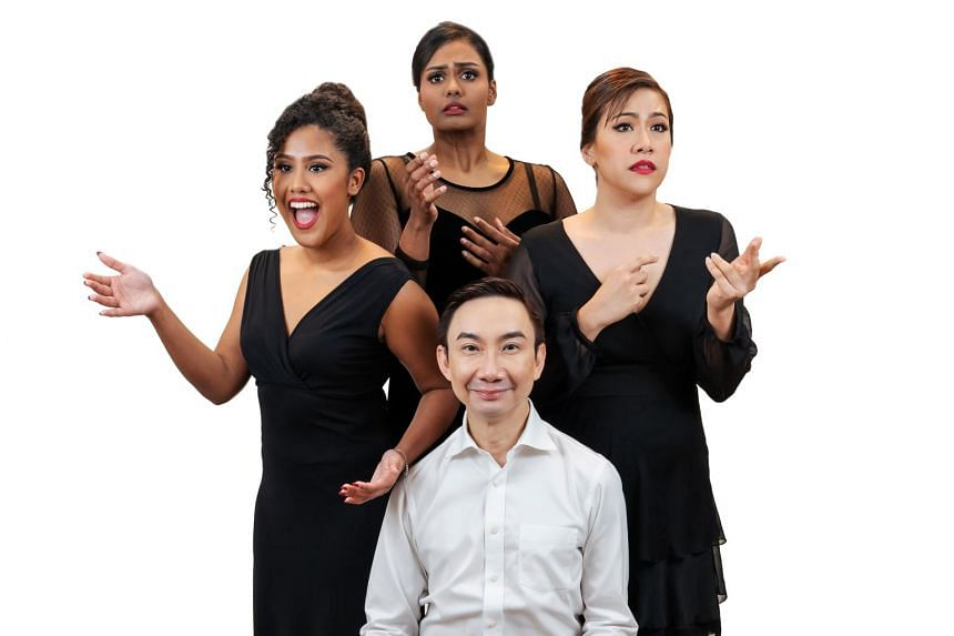 (Clockwise from left) Maya Raisha, Rebekah Sangeetha Dorai, Mina Ellen Kaye and Hossan Leong in Sing'theatre's Edith Piaf tribute revue No Regrets.