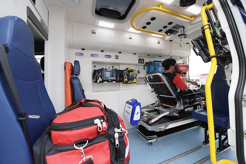 The SCDF's seventh-generation ambulance is equipped with a built-in system to decontaminate the vehicle within 20 minutes. The ambulance also has a solar panel and an electronically controlled loading and unloading system for stretchers. ST PHOTOS: A