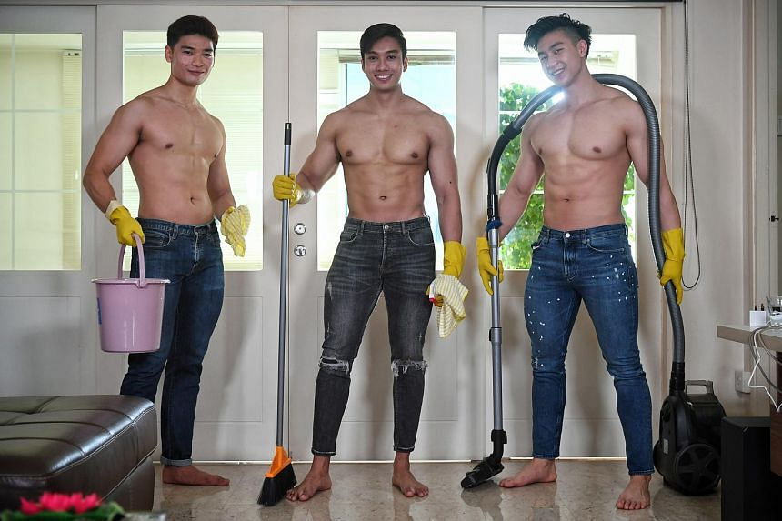 "The ""Singapore 1st hunky guy cleaning service"" campaign was launched on April 6, 2021, and featured four bare-bodied hunky handymen."