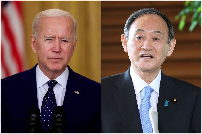 Mr Joe Biden and Mr Yoshihide Suga are expected to agree on a joint statement on Taiwan.
