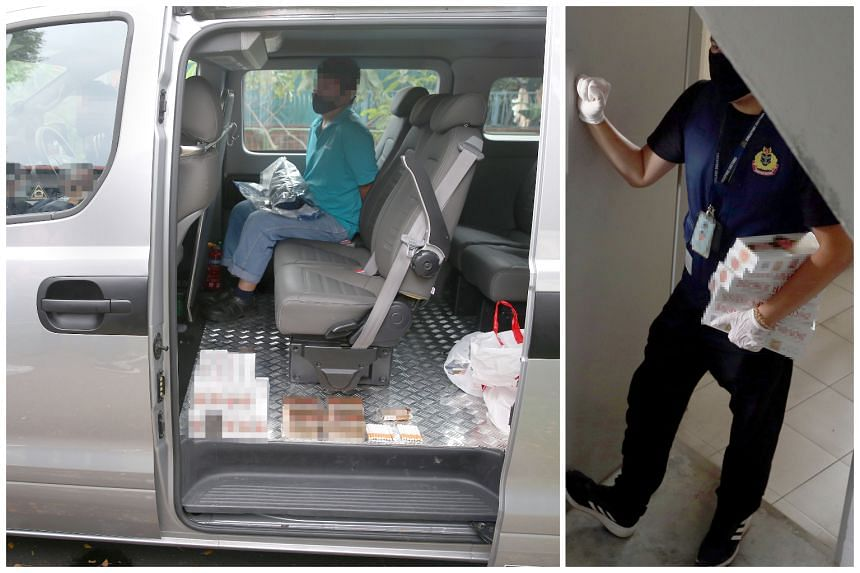 One of the men arrested in an enforcement operation (left) and a Singapore Customs officer is seen leaving an apartment during the operation, carrying a few cartons of seized duty-unpaid cigarettes (right).