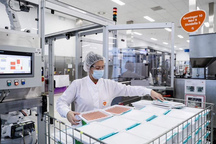 An employee working at the GlaxoSmithKline factory in Wavre where the Covid-19 CureVac vaccine will be produced.