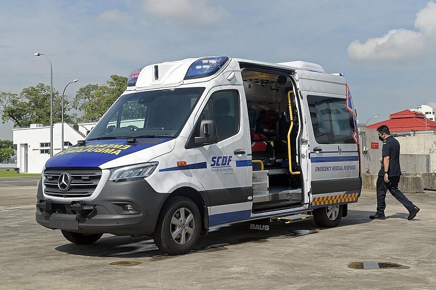 The SCDF's seventh-generation ambulance is equipped with a built-in system to decontaminate the vehicle within 20 minutes.