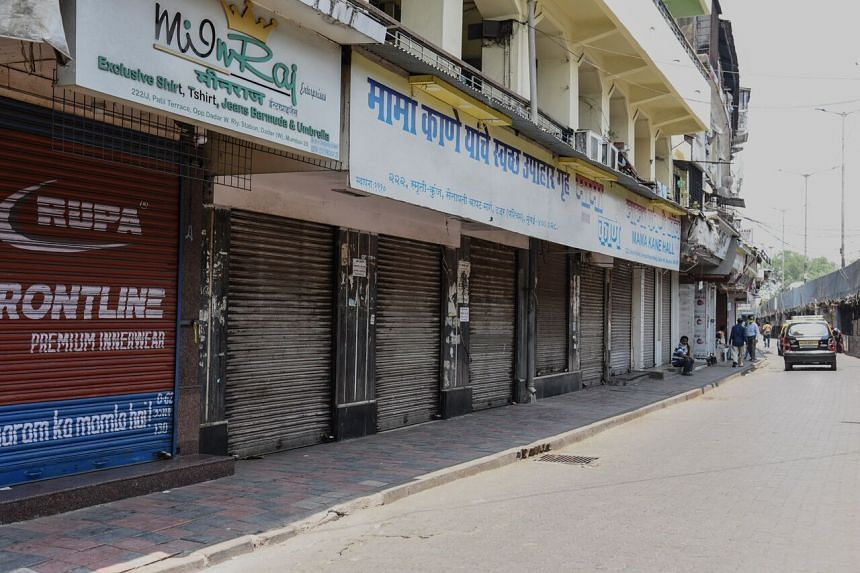 Shuttered shops are seen in Mumbai after the state government imposed a lockdown, on April 15, 2021.