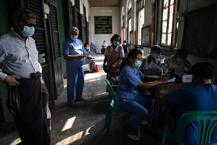 A Covid-19 vaccination site in Yangon, Myanmar, in February.
