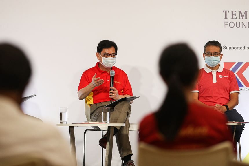 Deputy Prime Minister Heng Swee Keat and Minister for Culture, Community and Youth Edwin Tong at a dialogue on April 17, 2021.