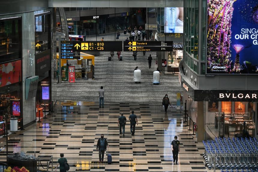 The transit area of Changi Airport Terminal 3 on March 30, 2021.