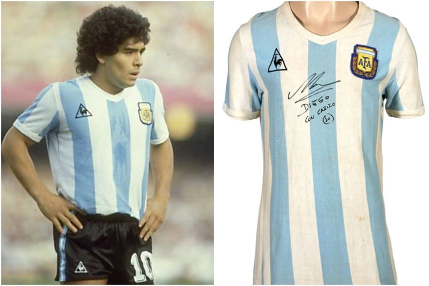 Maradona wore the blue-and-white striped jersey in his World Cup debut in a group stage match against Belgium in 1982.