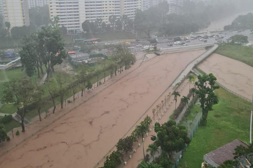 The flooding at Ulu Pandan Park Connector after a heavy rain on April 17, 2021.