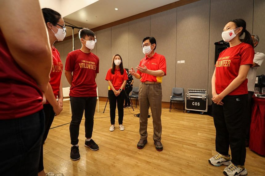 Deputy Prime Minister Heng Swee Keat speaking to participants of a dialogue with young people on April 17, 2021.