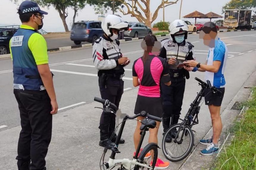 The cyclists were spotted during enforcement operations.
