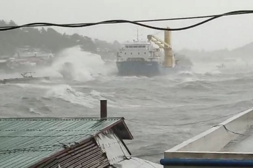 Waves crash the shore in the province of Catbalogan in Samar, Philippines, on April 18, 2021.