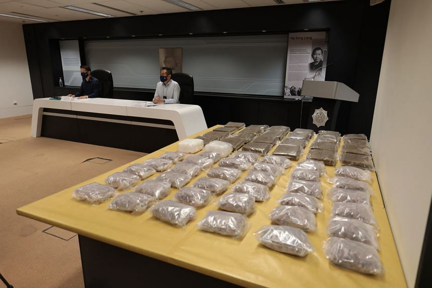 The drugs being displayed to the media during a press conference on April 19, 2021.