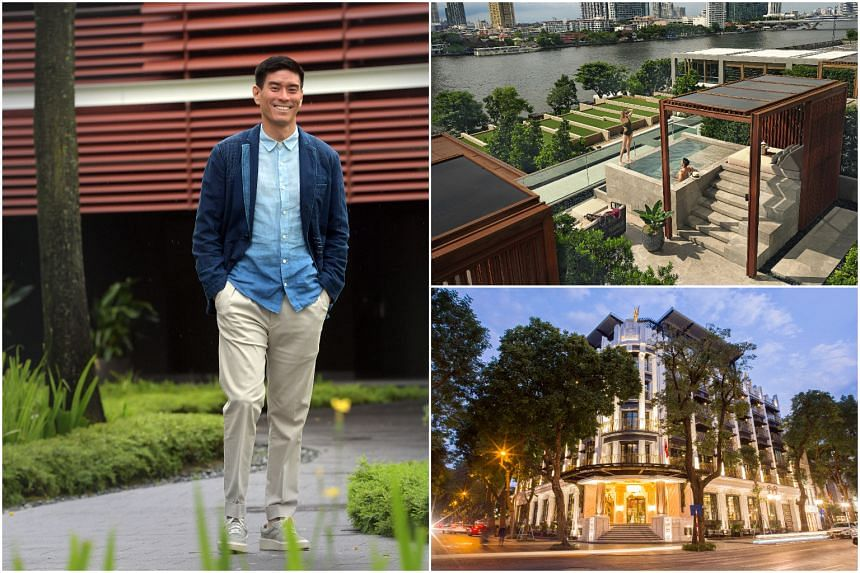 (Clockwise from left) Mr Evan Kwee opened a riverside resort in Bangkok and a boutique hotel in Hanoi amid the pandemic.