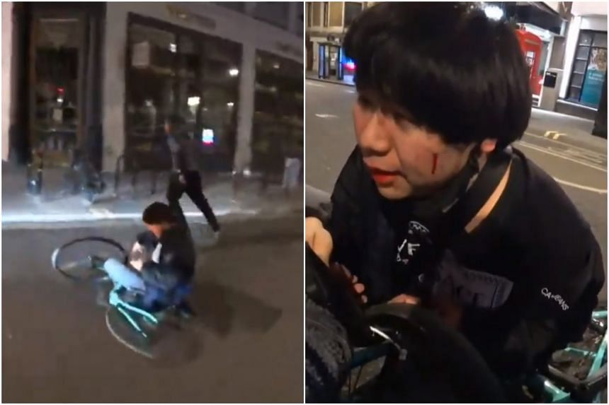Mr Raymond Hing, 21, was left with a cut on his face after being knocked to the ground while cycling in London.