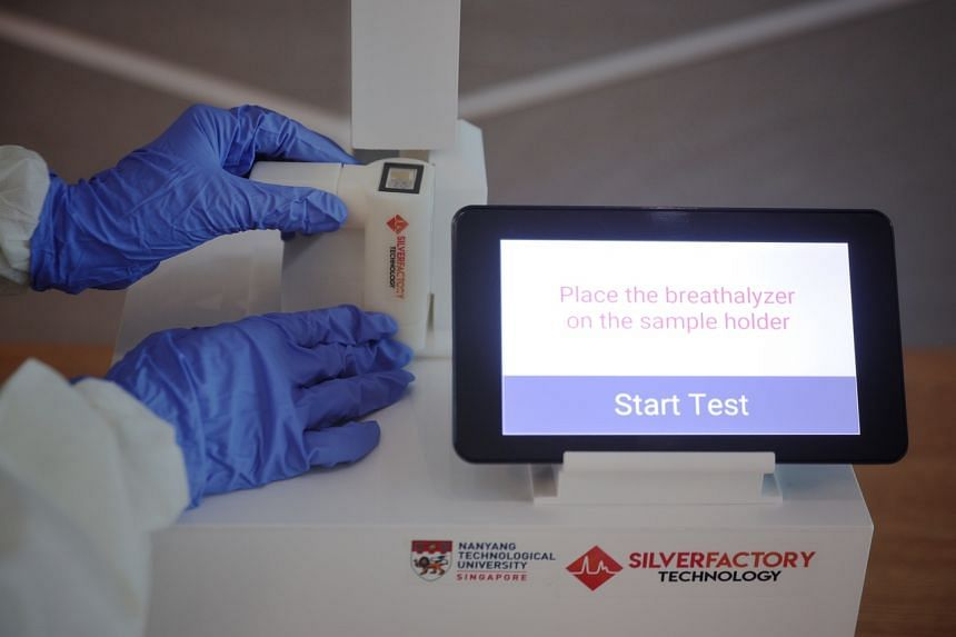 The TracieX breathalyser by Singapore medtech firm Silver Factory Technology is currently being trialled.
