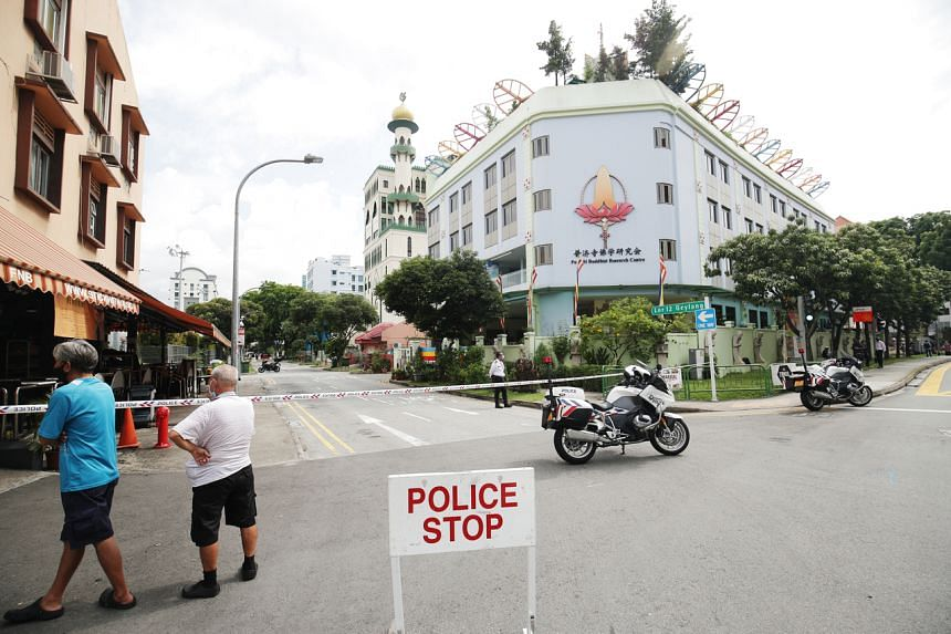 The projectile was discovered outside Lin San Temple, which is located at 27 Lorong 12 Geylang.