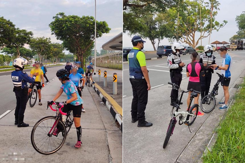 The LTA teamed up with the Traffic Police to deploy officers to Ayer Rajah Expressway, West Coast Highway as well as Bukit Timah and Tanah Merah Coast roads. Errant cyclists can land fines of $75.